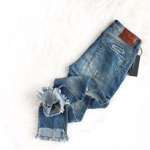 One Teaspoon   frayed cutoff distressed crop jeans